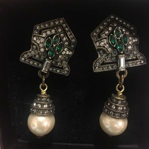 Emerald and Pearl Pierced Earrings